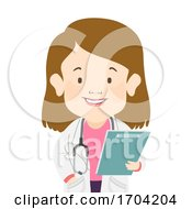 Girl Dwarfism Doctor Clipboard Illustration