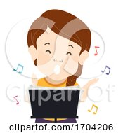 Girl Dwarfism Singing Music Notes Illustration