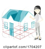 Girl Feng Shui Flying Star House Illustration
