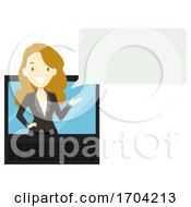 Girl Receptionist Online Check In Illustration