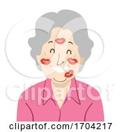 Woman Grandmother Face Kisses Illustration