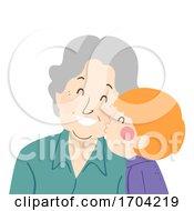 Poster, Art Print Of Woman Senior Kid Boy Kiss Grandmother Illustration