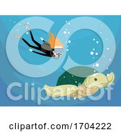 Girl Scuba Diving Sea Turtle Illustration