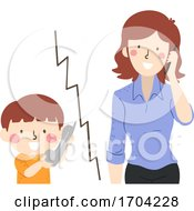 Kid Boy Call Girl Mom Illustration