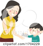 Kid Boy Give Mom Letter Illustration