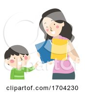 Kid Boy Mom Choose Book Illustration