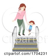 Kid Boy Mom Scared Of Escalator Illustration