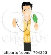 Man Avian Vet Parrot Stethoscope Illustration