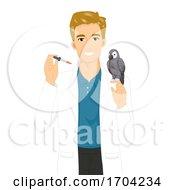 Man Avian Vet Parrot Dropper Illustration