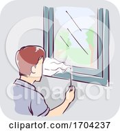 Man Incense Window Gaps Inspect Illustration