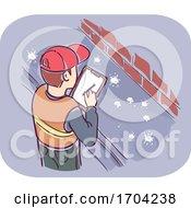 Man Inspection Pigeon Pest Feces Illustration
