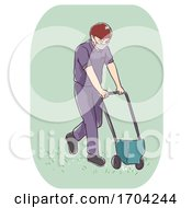 Man Pest Control Push Spread Illustration