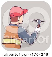 Man Plug Gaps Wall Illustration