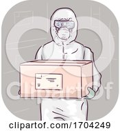 Man Body Protective Suit Carry Box Illustration