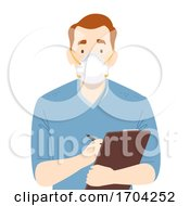 Man Nurse N95 Face Mask Clipboard Illustration