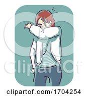 Man Sneeze Into Crook Elbow Illustration