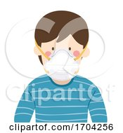 Man Wear N95 Face Mask Illustration