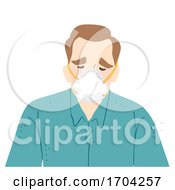 Man Wear N95 Face Mask Sad Illustration