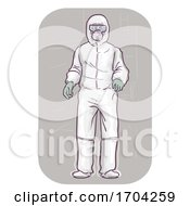 Man Wear Whole Body Protective Suit Illustration
