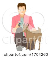 Man Animal Husbandry Goat Vaccination Illustration