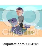 Man Seal Save Fish Net Trap Illustration