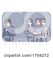 Man Sneezed Public Threat Mask Illustration