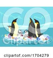 Penguin Floating Garbage Ocean Illustration
