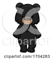 Black Polar Bear Front View Illustration