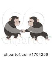 Chimpanzee Touch Hands Greet Illustration