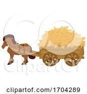 Horse Hay Cart Illustration