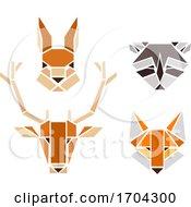Woodland Animals Geometric Shape Illustration