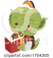 Dragon Mascot Student Book Illustration