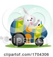 Poster, Art Print Of Easter Bunny Mascot Egg Car Illustration
