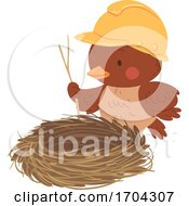 Mascot Bird Build Nest Illustration