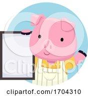 Pig Shop Owner Board Illustration