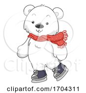 Polar Bear Mascot Ice Skating Illustration