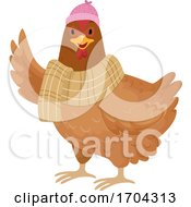 Winter Chicken Illustration