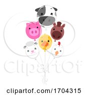 Farm Animals Balloons Illustration