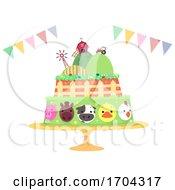 Farm Birthday Cake Buntings Illustration