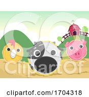 Poster, Art Print Of Farm Haystack Art Animals Illustration