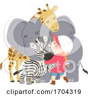 Kid Girl Animals Group Hug Illustration