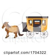 Horse Carriage Christmas Market Illustration