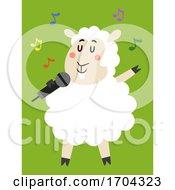 Mascot Sheep Microphone Sing Illustration