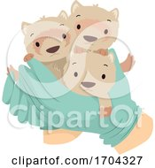Hand Gloves Baby Ferrets Save Illustration