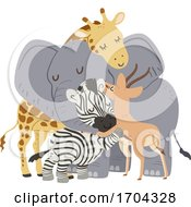 Animals Group Hug Gazelle Illustration