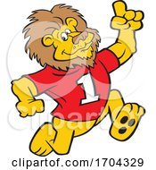 Cartoon Victorious Lion Mascot