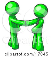 Lime Green Man Wearing A Tie Shaking Hands With Another Upon Agreement Of A Business Deal Clipart Illustration