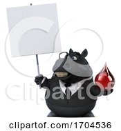3d Chubby Black Business Horse On A White Background