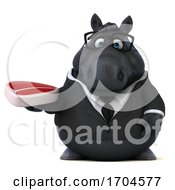 Poster, Art Print Of 3d Chubby Black Business Horse On A White Background