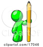 Lime Green Man Holding Up And Standing Beside A Giant Yellow Number Two Pencil Clipart Illustration